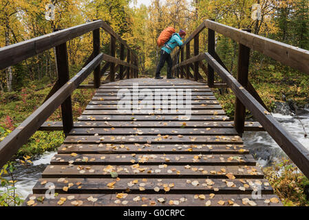 Hiker on bridge over small river on the way to Aigert hut, Kungsleden trail, Lapland, Sweden - Stock Image