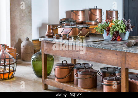 Kitchen accessories at the exposition in Pena palace, Sintra, Portugal - Stock Image