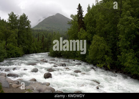 Wild running Little Susitna River on Fishhook road, the road to Hatcher Pass from Willow, Alaska - Stock Image
