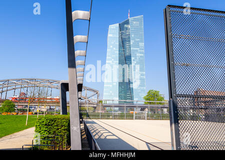 European Central Bank in Frankfurt, Germany. View from 'Hafenpark'. 17.04.2018. - Stock Image