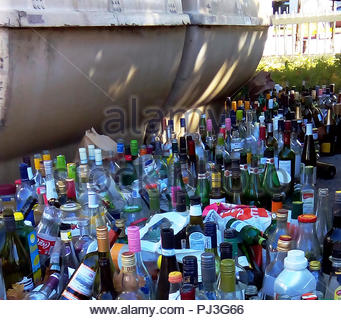 empty bottles bottle container after celebration - Stock Image