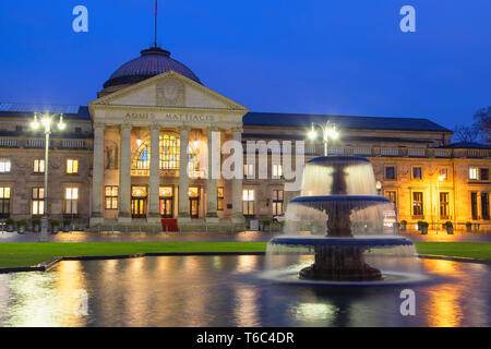 Kurhaus at dawn, Wiesbaden, Hesse, Germany - Stock Image