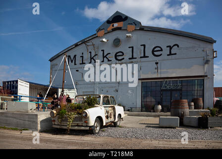 Mikkeller Beer and Back Garden close to the Reffen Street Food on Refshaleøen, Copenhagen, Denmark, in early season. - Stock Image
