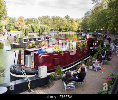 Waterside cafe in Paddington basin London Britain - Stock Image