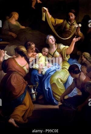 Natività di Maria - Nativity of Mary by Pietro Antonio Rotari ( 1707 – 1762)  Italian painter of the Baroque period. Italy - Stock Image