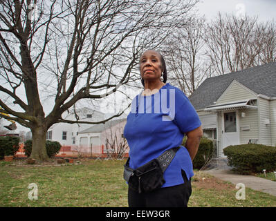Hamden CT USA- Priscilla Taylor, the home owner at 131 Bryden Terrace in Hamden, will not take part in the federal - Stock Image