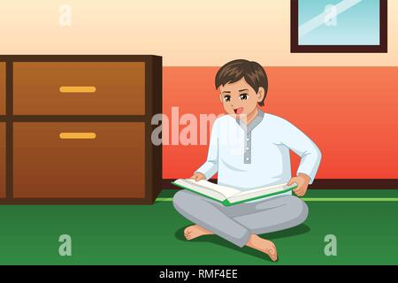 A vector illustration of Boy Reading Book at Home - Stock Image