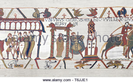 Bayeux Tapestry  Scene 15 - Duke Williams daughter is promised in marriage to Harold. - Stock Image