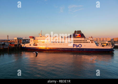 P&O Ferry in the Port of Calais, France, Europe - Stock Image