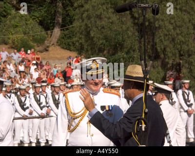 An Admiral talking to the Governor of Gibraltar Sir Francis Richards at the Honorary Freedom of the City of Gibraltar Ceremony - Stock Image