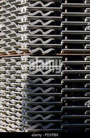 Stacked tiles detail. Serpentine Summer Pavilion 2018, London, United Kingdom. Architect: Frida Escobedo, 2018. - Stock Image