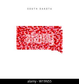 I Love South Dakota. Red Hearts Pattern Vector Map of South Dakota - Stock Image