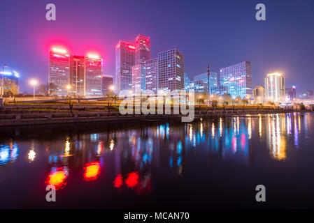 Beijing downtown district at night - Stock Image