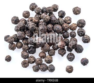 Black peppercorns isolated on white background. - Stock Image