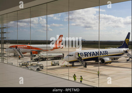 Easyjet and Ryanair aircraft on the ground at Corvera Airport, Murcia, Spain - Stock Image