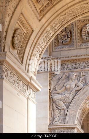 Arches and details of Arc de Triomphe du Carrousel, Paris, France - Stock Image