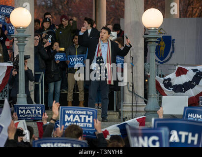 Boston, MA, USA. 10th Apr, 2019. YANG 2020 American presidential campaign rally at the Parkman Bandstand on the Boston Common. More than 1,000 supporters of Andrew Yang gathered to meet and hear Democratic candidate Yang speak at the Boston Common. Photo shows Yang on the bandstand addressing the crowd Credit: Chuck Nacke/Alamy Live News - Stock Image