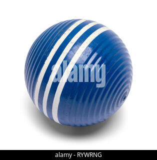 Striped Blue Croquet Ball Isolated on White. - Stock Image