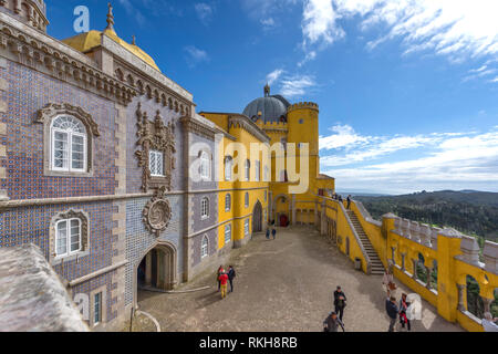 Fragmental view on Pena palace. Sintra, Portugal - Stock Image