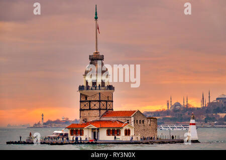Maiden's Tower (also known as Leander's Tower), Üsküdar, Istanbul, Turkey. - Stock Image