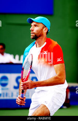 Pune, India. 3rd January 2019. Ivo Karlovic of Croatia in action in the first quarter final of singles competition at Tata Open Maharashtra ATP Tennis tournament in Pune, India. Credit: Karunesh Johri/Alamy Live News - Stock Image