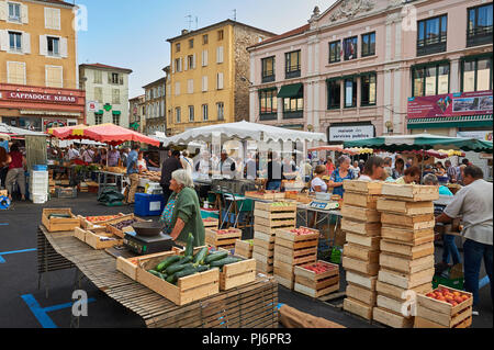 Annonay, Ardeche, Rhone Alps, France and a street market in the centre of the town square - Stock Image