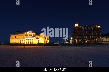 Royal and Ancient Clubhouse and Hamilton Grand luxury apartments by night St Andrews Fife Scotland   February 2019 - Stock Image