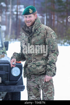 Prince Harry, Captain General of the Royal Marines, visits Bardufoss Air Force Base on the 50th anniversary of Operation Clockwork, the Arctic warfare training exercise.  Featuring: Prince Harry, Harry Duke of Sussex Where: Bardufoss, Norway When: 14 Feb 2019 Credit: John Rainford/WENN - Stock Image