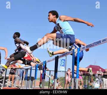 The High school Class L Track Championship meet in Middletown, CT USA. - Stock Image