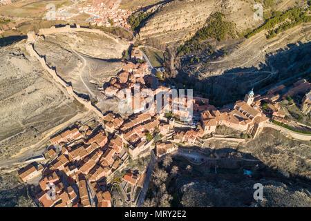 Aerial view of the medieval town of Albarracin. Albarracin, Teruel, Aragon, Spain, Europe - Stock Image