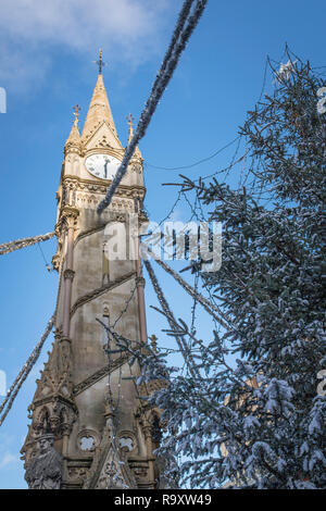 Leicester clock tower at Christmas. - Stock Image