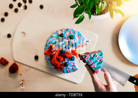 Close up of woman cutting cake with colourful cream. Juicy filling with red berries. Top view. - Stock Image
