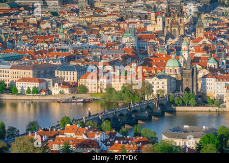 Charles Bridge Prague, aerial view of the Charles Bridge and buildings in the Old Town  - Stare Mesto - district of Prague, Czech Republic. - Stock Image