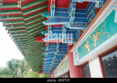 Colourful Chinese temple roof - Stock Image
