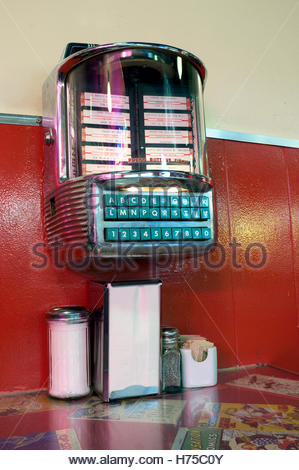 A tabletop jukebox music record selector, at The Templeton, a cafe diner in Granville Street, Vancouver, BC, Canada. - Stock Image