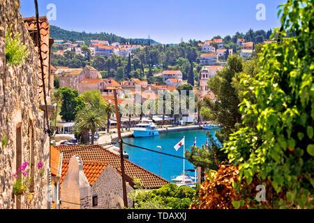 Town of Cavtat waterfront view, south Dalmatia, Croatia - Stock Image