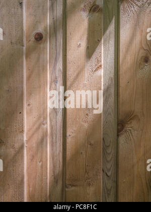 Panelled wood texture side-lit by summer sunshine. - Stock Image