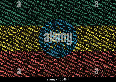 Ethiopia flag  is depicted on the screen with the program code. The concept of modern technology and site development. - Stock Image