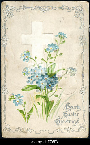 USA - CIRCA 1906: A Easter postcard printed in USA, shows of spring flowers on a background of the Christian cross, - Stock Image