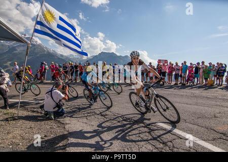 Romain Bardet of cycling team Ag2r La Mondiale climbing stage 11 of the 2018 Tour de France towards La Rosiere Espace San Bernardo Rhone Alpes Savoie - Stock Image