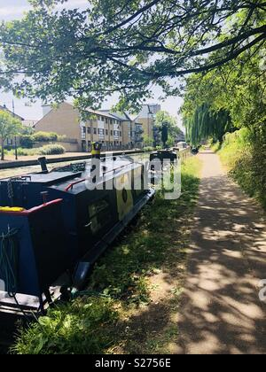 Boats in Hertford Union canal - Stock Image