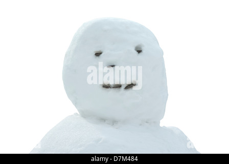 Head and shoulders of a happy snowman. - Stock Image