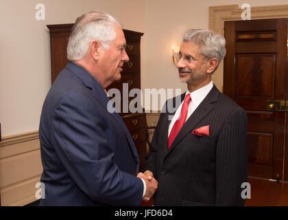 U.S. Secretary of State Rex Tillerson greets Indian Foreign Secretary Subrahmanyam Jaishankar before their bilateral - Stock Image