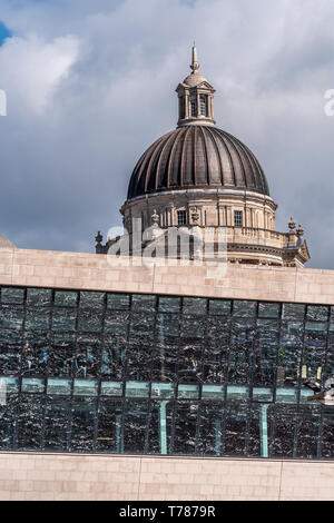 Mersey Docks and Harbour building dome behind the Mersey ferry terminal building. - Stock Image