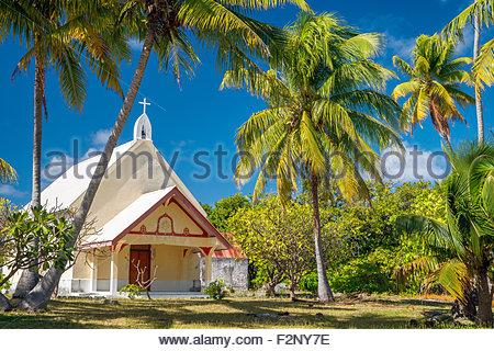 Tetamanu (south pass) church in Fakarava - French Polynesia - Stock Image