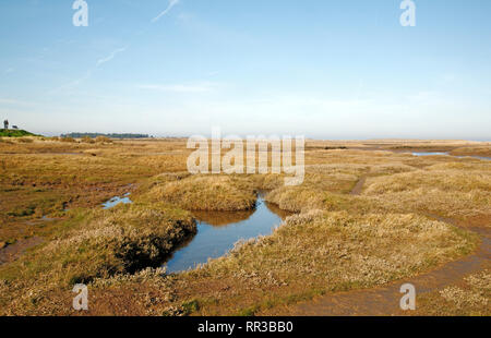 A view across the salt marshes in North Norfolk at Thornham, Norfolk, England, United Kingdom, Europe. - Stock Image