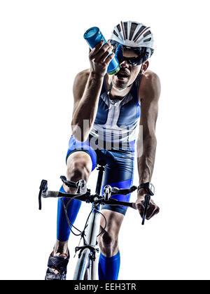 man triathlon iron man athlete biker cyclist bicycling biking in silhouette on white background - Stock Image