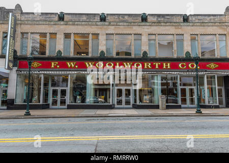 GREENSBORO, NC, USA-2/14/19: The F W. Woolworth building where the first 'sit-in' for integragtion occurred in 1960. - Stock Image