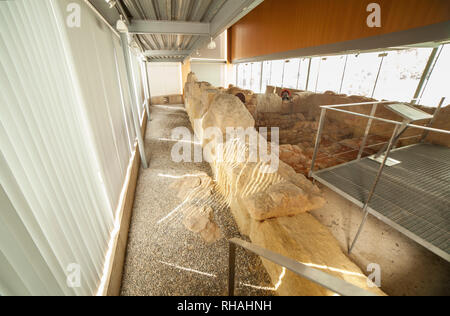 Catagena, Spain - September 14th, 2018: Punic Wall Interpretation Center. Walls remains display. Ground floor view - Stock Image