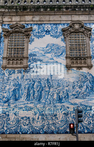 Do Carmo church, Azulejos, painted tiles, Porto, Portugal - Stock Image